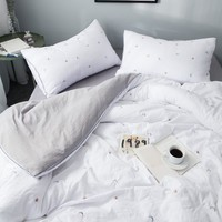 White Duvet Cover. Sleep With The Stars and The Moon, Embroidered Washed Cotton Bedding Sets. Gray Sheet Set, Pillowcases