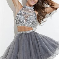 Snow Lotus Women's Two Pieces Gray Rhinestones High Neck Prom Gowns (10)
