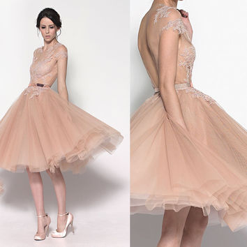 New Fashion Romantic Cheap Short Tulle Champagne Cocktail Dresses With Open Back Knee Length Party Dress For Prom Night