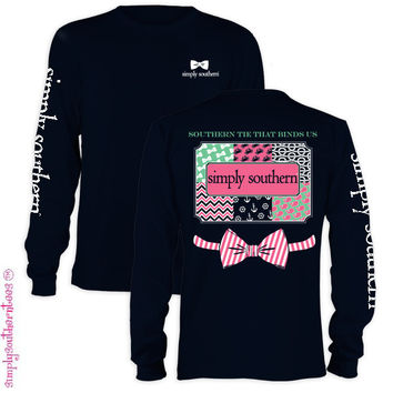 Simply Southern Bow Anchor Chevron Pattern Girlie Bright Long Sleeve T-Shirt