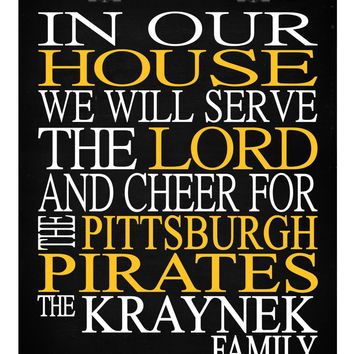 Customized Name Pittsburgh Pirates MLB Baseball personalized family print poster Christian gift sports wall art - multiple sizes