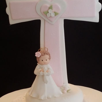 Baby Girl Baptism Decorations, Christening Cake Topper, Baby Girl Cake, Baby Baptism Cake Topper, Cross Topper, Pink Cross Topper, Cross For Cake, Keepsake Cross Topper