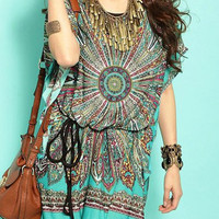 Green Printed Short Sleeve Drawstring Dress