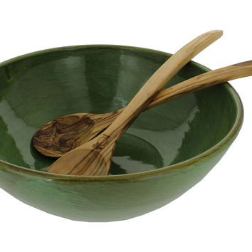 Stoneware Bowl with Wood Salad Servers, Serving Bowls
