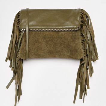 ASOS Suede Fringed Foldover Cross Body Bag