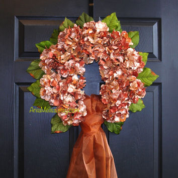 fall wreath rust hydrangea wreaths fall wreaths for front door wreaths outdoor welcome weddings wreaths for front door wreaths Thanksgiving