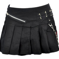 Vintage Tripp NYC Black Pleated Mini Skirt with Zipper, Safety Pins & Chains Small