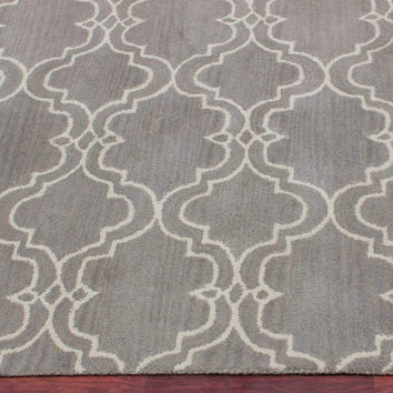 Moroccan Scroll Tile Gray Handmade Persian Style Woolen Area Rug