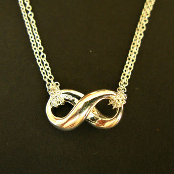 Silver eternity necklace mother daughter necklace sister jewelry silver chain necklace infinity jewelry eternity jewelry tiffany jewelry