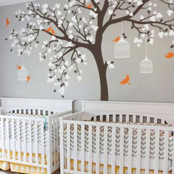 Cute! Large Bird Cage Tree Wall Stickers. Removable Vinyl Decal