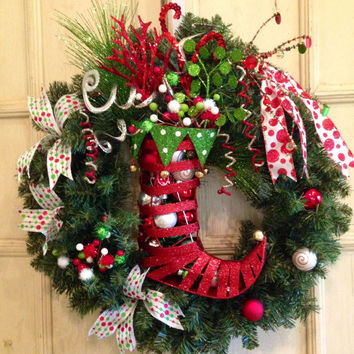 Elf Boot Christmas Wreath, Christmas Wreath, Elf Stocking Christmas Wreath, Whimsical Christmas Wreath, Christmas Decoration