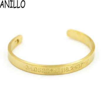 ANILLO New Men Women Jewelry Titanium Steel Engrave Longitude Latitude Bracelet luxury Open Bangle