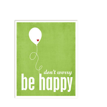 Don't Worry Be Happy Leaf Green Print Red by hairbrainedschemes