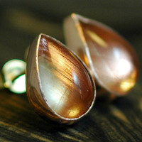 Oregon Sunstone in Rose Gold Earrings