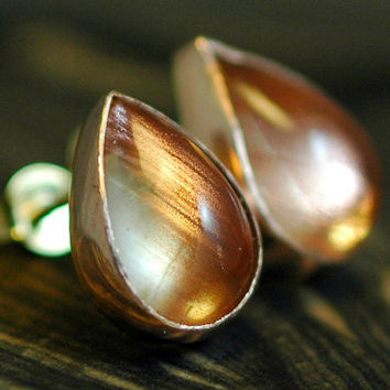 Oregon Sunstone in Rose Gold Earrings by Specimental on Etsy