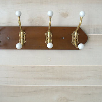 Wood and Brass Coat Rack, Wall Mounted Coat Rack, Brass Hook Rail, Old Fashioned Towel Rack
