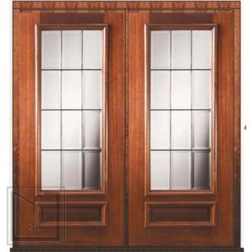 Prehung French Double Door 80 Mahogany French 1 Panel 3/4 Lite Glass