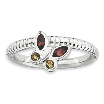 Stackable Garnet and Citrine Gemstone Butterfly Ring