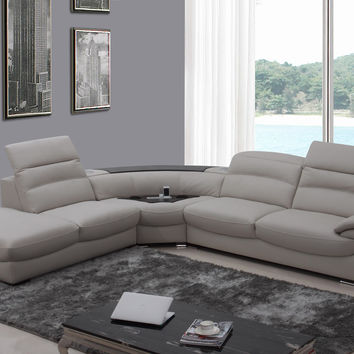 Divani Casa Miracle Modern Light Grey Italian Leather Sectional Sofa