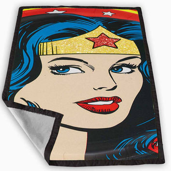 Wonder Woman Glitter Blanket for Kids Blanket, Fleece Blanket Cute and Awesome Blanket for your bedding, Blanket fleece *