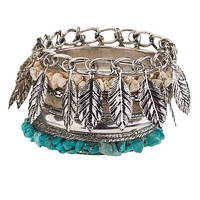 feather and turquoise bead bracelet ser