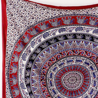MULTICOLOR FABRIC ELEPHANT Mandala Wall Hanging Throw Hippie Wall Tapestry Large Mandala Bedspread Bohemian Boho Ethnic Bedding Home Decor