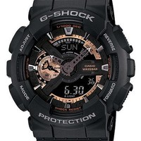 Casio Mens XL Analog-Digital G-Shock - Black with Rose Gold-Tone - Resin Strap