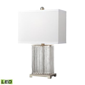 Ribbed Clear Glass LED Table Lamp in Brushed Steel Clear
