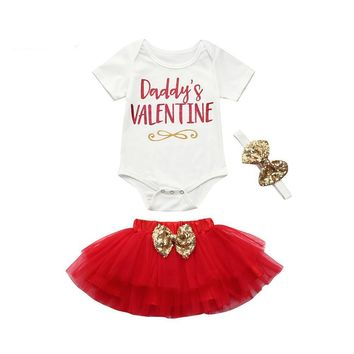 Daddy's Valentine Infant Baby Onesuit Bodysuit And Tutu Skirt