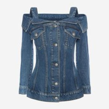 Off The Shoulder Denim Jacket | Alexander McQueen