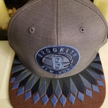 CREYONIA Mitchell & Ness Brooklyn NY Nets Snapback Hat (blue) Men's NBA Cap