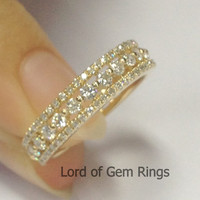 Brilliant Diamond Wedding Band Full Eternity Anniversary Ring 14k Yellow Gold