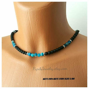 BEADED NECKLACE Matte Onyx-Matte Stripe Agate Necklace Custom Jewelry Women Men's Jewelry Beaded Necklace Long Necklace Unique Jewelry