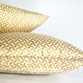 Metallic Gold Cushion, Gold Geometric Pillow, White and Gold Pillow, Wedding Decor, Anniversary Gift for Parents, Sparkle Pillow