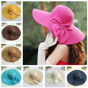 New Fashion Summer Wide Brim Hat Women Floppy Straw Cap for Women Ladies Bow Bowknot Foldable Sun Hats Beach Cap with String
