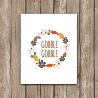 Funny Thanksgiving Printable Wall Art Decor Poster - Gobble Gobble Harvest Wreath Printable - INSTANT DOWNLOAD