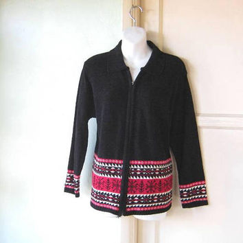 Comfy Soft Black Velour Cardigan Sweater w  Red White Snowflake 4ff4c9c19