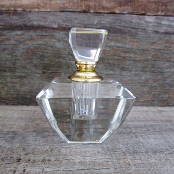 Vintage Crystal Perfume Bottle Small Geometric Crystal Perfume Bottle Vintage Perfume Bottle Cut Lead Crystal with Glass Stopper