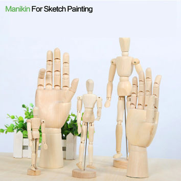 Wooden Mannequin Model Hand Set Female Wooden Hand Model, Male Wooden Hand Manikin Figure 8 Inch / 12 Inch Display Mannequin Model Hand