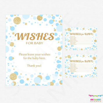 Blue and Gold Baby Shower Wishes for Baby Boy Card & Sign, Wishes for Baby Printable, Baby Shower Wish Cards Boy, Instant Download CB0003-bg