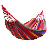 Outdoor Garden Back Yard Travel Camping Colour Stripe Swing Hammock Hang Bed Red 150KG LOAD red color bars Canvas Camping Supply
