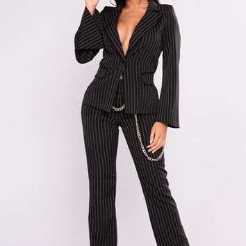 Stacy Pinstripe Chain Pants - Black/White
