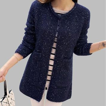 Plus Size Women  Sweater Mohair Solid Long Sleeve  O Neck Pockets Fluffy Soft Autumn Sweaters   2018 Winter Outwear Cardigan