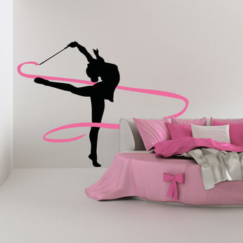 Vinyl Wall Decal Sticker Ribbon Dancer #OS_AA734