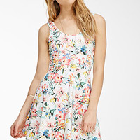 Floral Print Lace-Paneled Dress