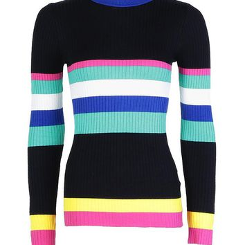 Alice Multi Coloured Stripe Jumper | Boohoo