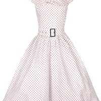 Lindy Bop 'Hetty' Polka Dot Bow Shawl Collar Vintage 1950's Rockabilly Swing Party Dress (L, White)
