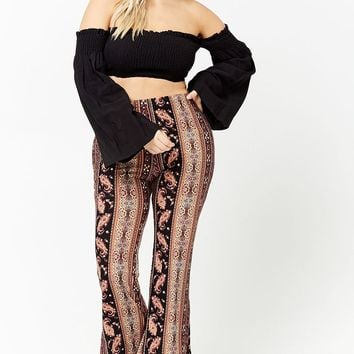 Plus Size Abstract Flare Pants