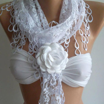 ON SALE /White -Elegance  Shawl / Scarf with Lacy Edge  -- White Rose---