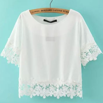 White Short Sleeve Floral Crochet Crop Top